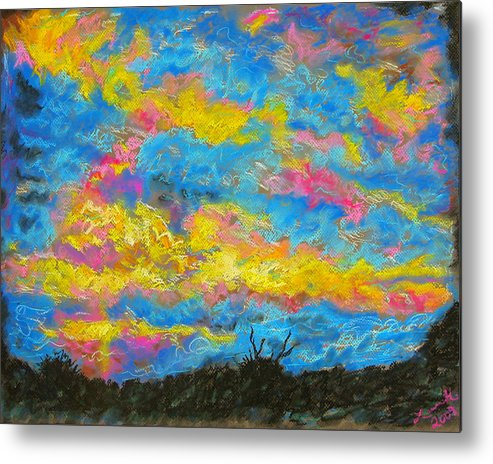 Landscape Metal Print featuring the drawing Glorious Sunset 2 by Laura Heggestad