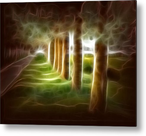 Evening Landcape Metal Print featuring the digital art Glowing Forest by Carola Ann-Margret Forsberg