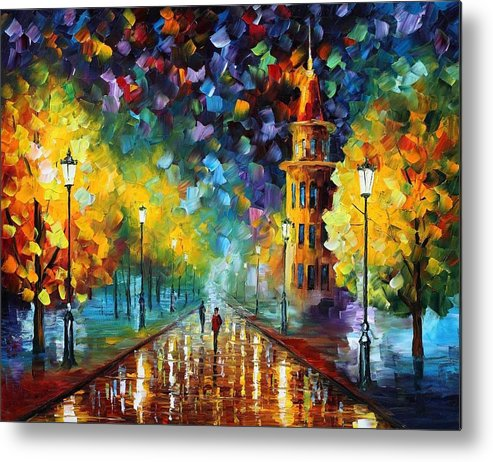 Afremov Metal Print featuring the painting Gold Winter by Leonid Afremov
