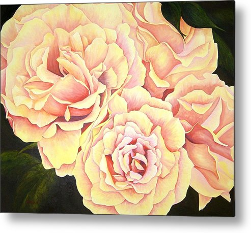 Roses Metal Print featuring the painting Golden Roses by Rowena Finn