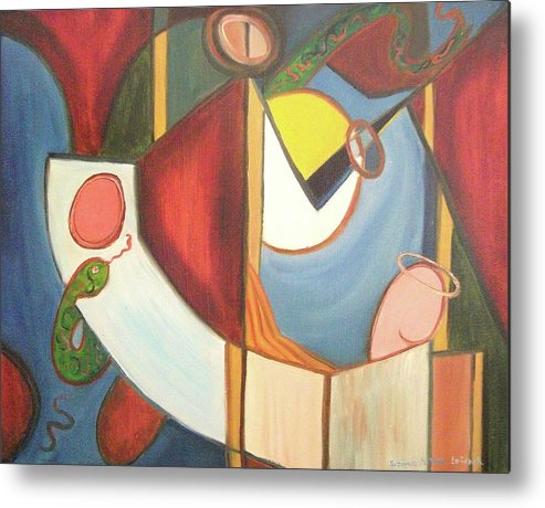 Good Metal Print featuring the painting Good And Evil by Suzanne Marie Leclair