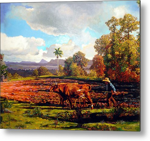 Cuban Art Metal Print featuring the painting Grandfather Farm by Jose Manuel Abraham