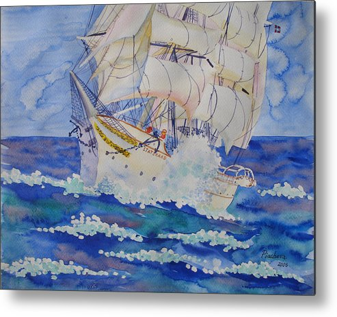 Seascape Metal Print featuring the painting Great Sails.2006 by Natalia Piacheva