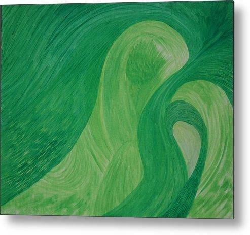 Metal Print featuring the painting Green Harmony by Prakash Bal Joshi