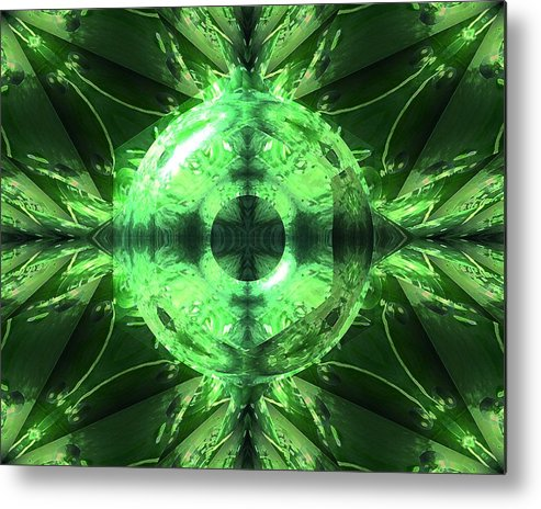 Green Metal Print featuring the photograph Green Leaf Mild Abstract by Vincent Duis