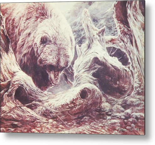 Bear Metal Print featuring the painting Grizzly Bear by Steve Greco