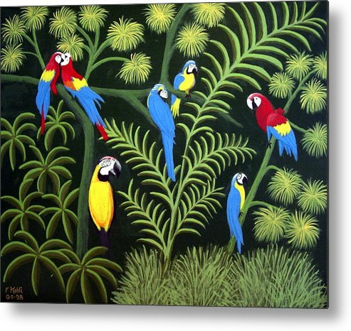 Landscape Paintings Metal Print featuring the painting Group Of Macaws by Frederic Kohli
