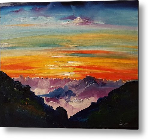 Haleakala Volcano Sunrise In Maui Metal Print featuring the painting Haleakala Volcano Sunrise In Maui   101 by Cheryl Nancy Ann Gordon