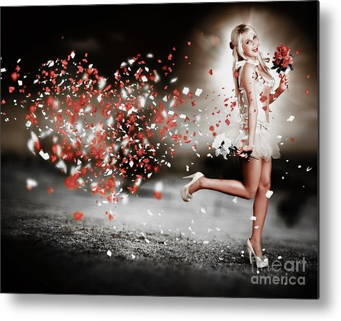 Abstract Metal Print featuring the photograph Happy Flower Girl In A Running Love Heart Romance by Jorgo Photography - Wall Art Gallery