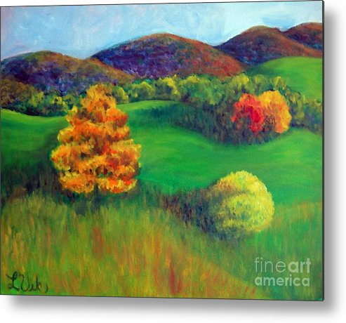 Happy Valley And The Rolling Hills Metal Print featuring the painting Happy Valley Hills by Lyn Vic
