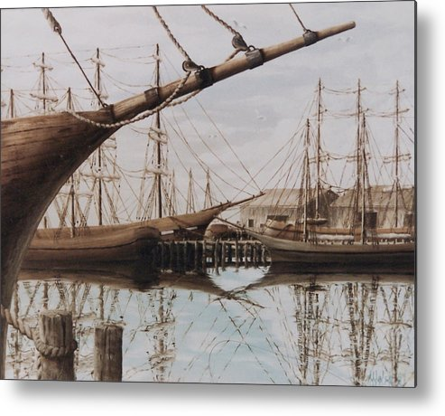 Ships Metal Print featuring the painting Harbor At Rest by Steven Welch