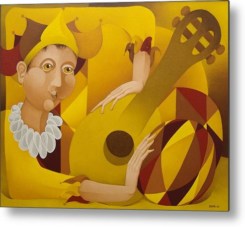 Sacha Metal Print featuring the painting Harlequin With Lute 2003 by S A C H A - Circulism Technique