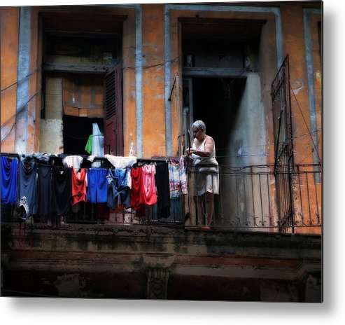 Havana Metal Print featuring the photograph Havana Laundry No. 1 by Cheryl Kurman