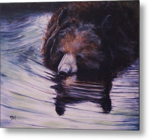 Bear Metal Print featuring the painting Having A Cool One by Michael Beckett