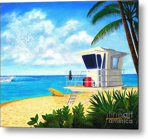 Hawaii Metal Print featuring the painting Hawaii North Shore Banzai Pipeline by Jerome Stumphauzer