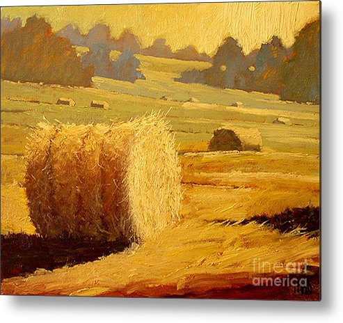Hay Metal Print featuring the painting Hay Bales Of Bordeaux by Robert Lewis