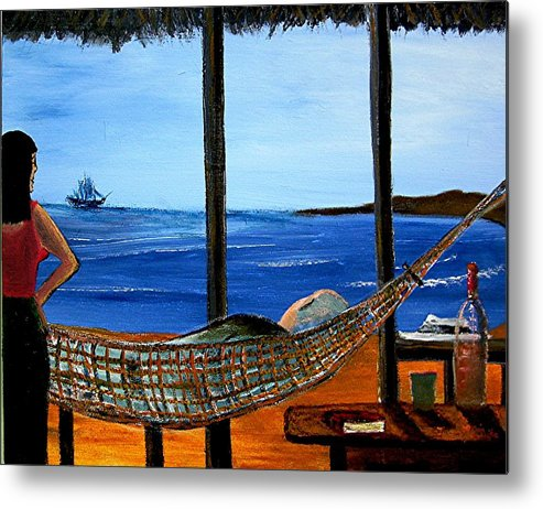 Beach Metal Print featuring the painting He Said He Was Dreaming... by Richard Hubal