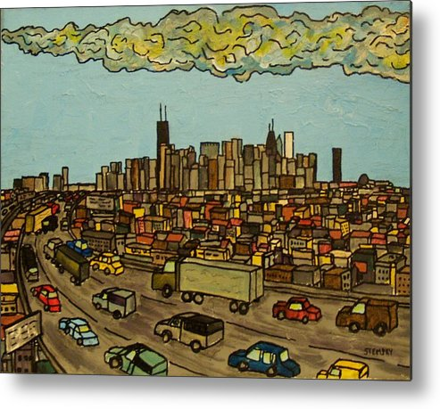 Chicago Metal Print featuring the painting Heading Home by Jacob Stempky