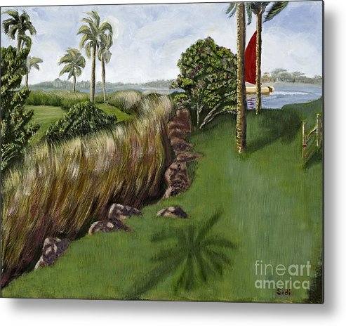 Landscape Metal Print featuring the painting Heading To The Keys by Sodi Griffin