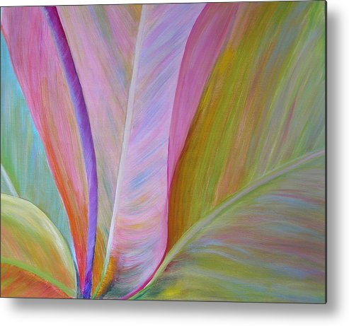 Floral Metal Print featuring the painting Heart Of Ti by Elizabeth Ferris