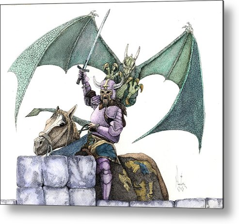 Knights Demons Dragons Wizards Magic Pagan Festival Metal Print featuring the mixed media Hector by Preston Shupp