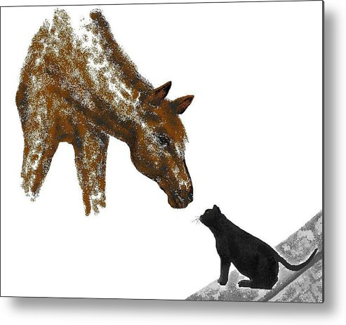 Horses Metal Print featuring the digital art Hello Down There by Carole Boyd