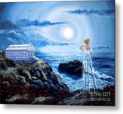 Dark Art Metal Print featuring the painting Her Tomb By The Sounding Sea by Laura Iverson