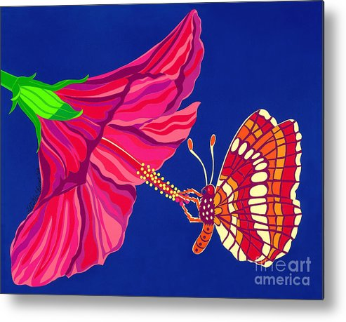 Nature Metal Print featuring the drawing Hibiscus And Butterfly by Lucyna A M Green