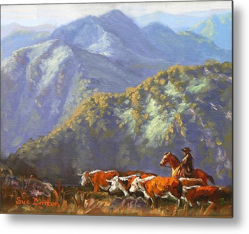 Cattle Metal Print featuring the painting High Country Muster by Sue Linton