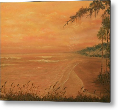 Beach; Ocean; Palm Trees; Water Metal Print featuring the painting High Tide by Ben Kiger