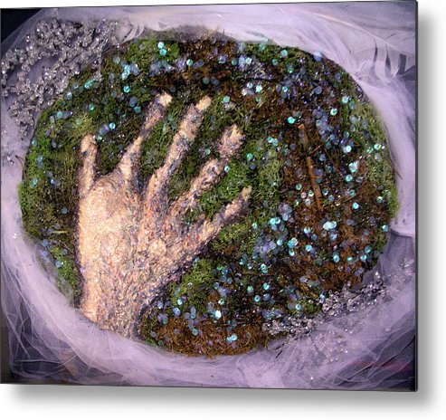 Evocative Espressionism Metal Print featuring the mixed media Holding Earth From The Series Our Book Of Common Faith by Stephen Mead
