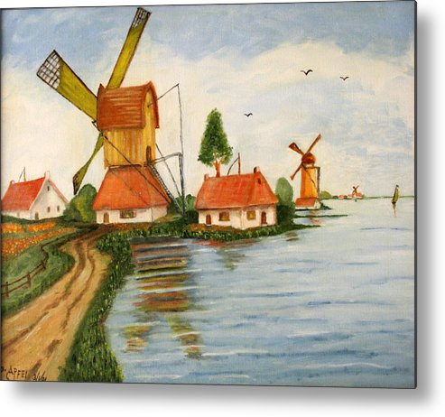 Windmills Metal Print featuring the painting Holland by Gloria M Apfel