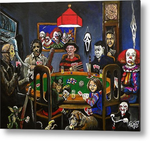 Horror Metal Print featuring the painting Horror Card Game by Tom Carlton