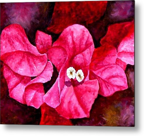 Oil Metal Print featuring the painting Hot Pink Bougainvillea by Darla Brock