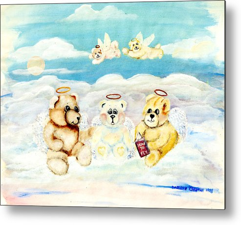 Teddy Bears Metal Print featuring the painting How To Fly by Darlene Green