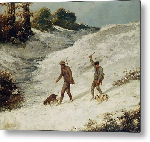 Hunters Metal Print featuring the painting Hunters In The Snow Or The Poachers by Gustave Courbet