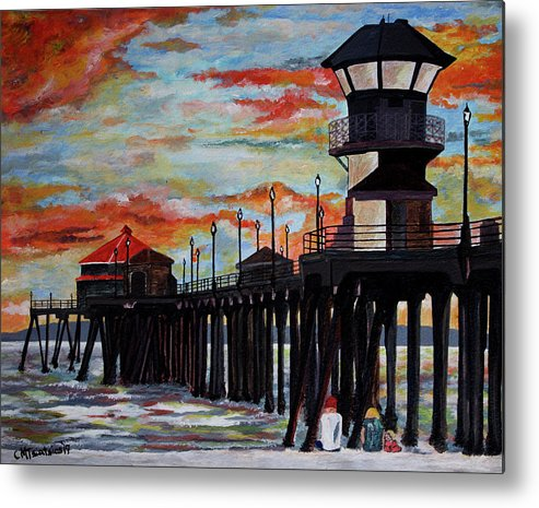 Sunset Metal Print featuring the painting Huntington Beach Pier Sunset by Carol Tsiatsios