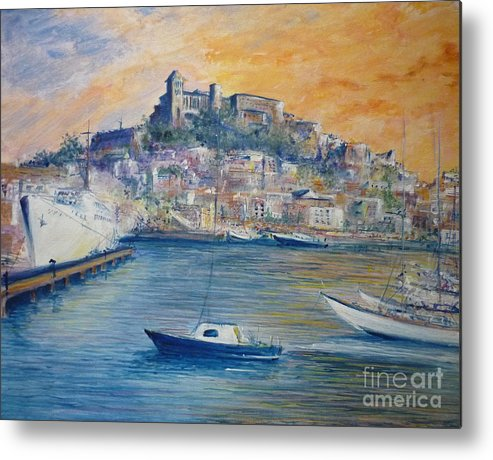 Marina Metal Print featuring the painting Ibiza Old Town Marina And Port by Lizzy Forrester