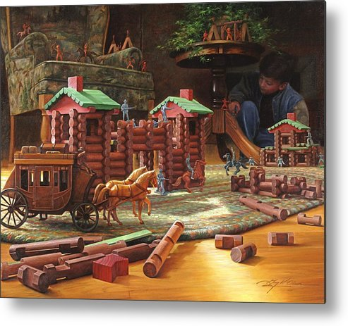 Lincoln Logs Metal Print featuring the painting Imagination Final Frontier by Greg Olsen