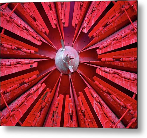 Red Metal Print featuring the photograph Industrial Bloom by Elizabeth Richardson