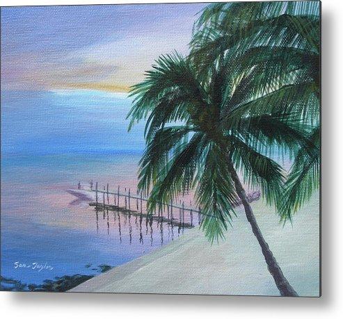 Ocean Metal Print featuring the painting Isla Morada Sunset by Samuel Taylor