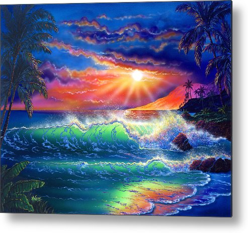 Seascape Metal Print featuring the painting Island Paradise by Angie Hamlin