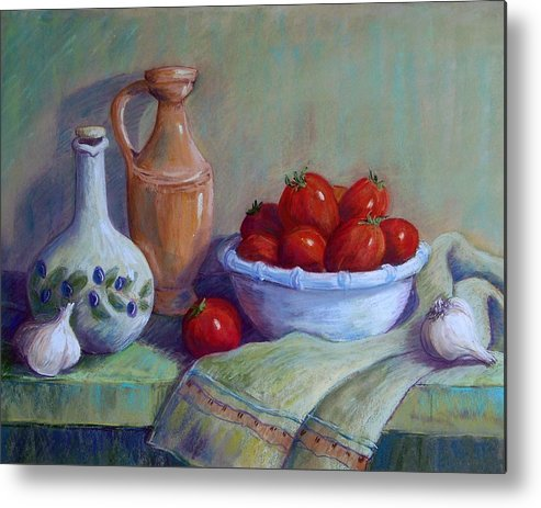 Still Life Metal Print featuring the pastel Italian Still Life by Candy Mayer