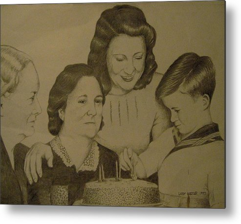 1940s Metal Print featuring the drawing Jack's Birthday by Larry Whitler