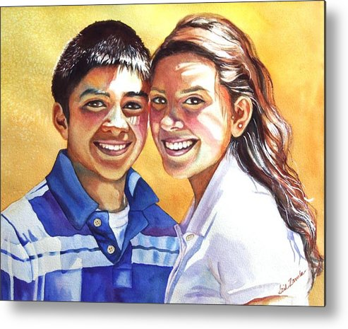 Portrait Metal Print featuring the painting James And Bella by Gail Zavala