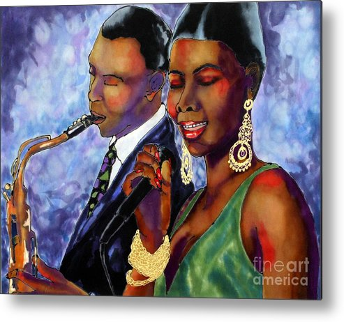 Silk Metal Print featuring the painting Jazz Duet by Linda Marcille