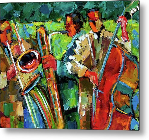 Jazz Metal Print featuring the painting Jazz In The Garden by Debra Hurd