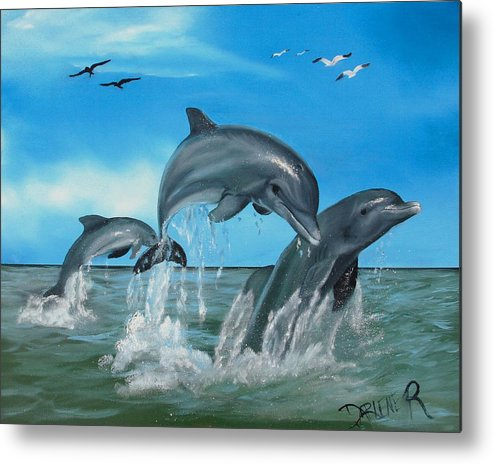 Dolphins Metal Print featuring the painting Joyful Trio by Darlene Green