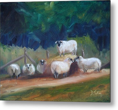Sheep Metal Print featuring the painting King Of Green Hill Farm by Donna Tuten