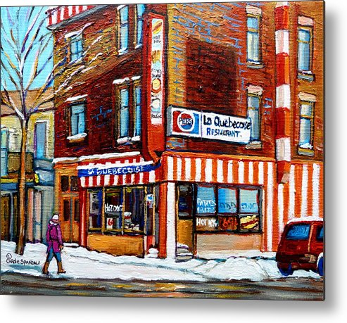 La Quebecoise Restaurant Metal Print featuring the painting La Quebecoise Restaurant Montreal by Carole Spandau
